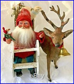 Antique VTG Santa Candy Container Sled Metal Deer German Christmas Decoration
