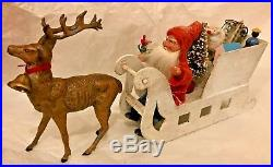 Antique VTG Santa In A Mica Candy Container Sled W Metal Deer Toys Tree German