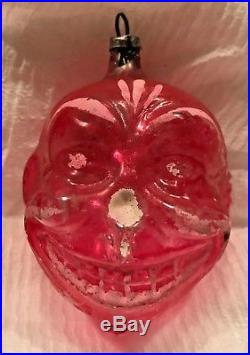 Antique VTG Unsilvered Grinning Clown W Tinsel Glass German Christmas Ornament