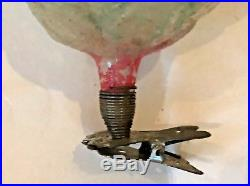 Antique VTG Unsilvered Rose Candle Cup On Clip Glass German Christmas Ornament
