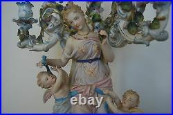 Antique Victorian Sitzendorf Dresden German Porcelain Ceramic Rococo Candelabra
