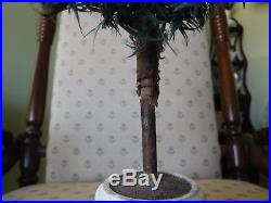 Antique Vintage 15 German Goose Feather Christmas Tree With Wooden Stand Base