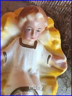 Antique Vintage 1940s German Composition Baby Jesus Nativity Putz Figure, 4 1/2
