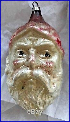Antique Vintage 4 Santa Face Head Glass Figural German Christmas Ornament