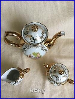 Antique Vintage Bavaria 17pc Demitasse Set Gold Overlay Trim Gorgeous Set