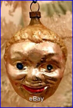 Antique Vintage Black Man Head Face German Glass Figural Christmas Ornament