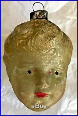 Antique Vintage Boy Head Face Glass German Figural Christmas Tree Ornament
