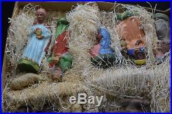 Antique Vintage Christmas MAROLIN Nativity German Paper Mache in Box 14 Figurine