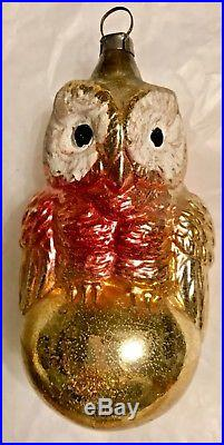 Antique Vintage Colorful Big Eyed Owl On A Ball German Glass Christmas Ornament