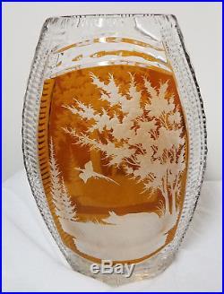 Antique Vintage Cut Glass Crystal Vase Hunting Scene Bohemian Art Glass German