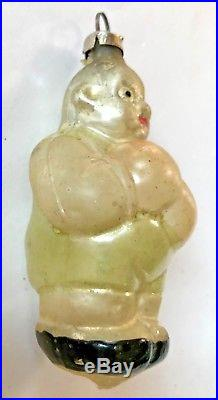 Antique Vintage Cute Boxing Guy German Glass Figural Christmas Ornament #2
