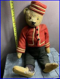 Antique Vintage Early German Schuco Mohair yes/no Bellhop Bear 16 NICE NO Res