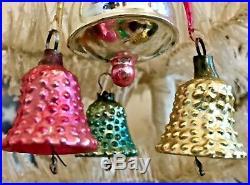 Antique Vintage Fantasy Cupcake W Bells Clappers Glass German Christmas Ornament