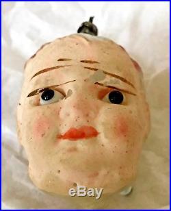 Antique Vintage Flesh Face Girl Head Glass Eyes Glass German Christmas Ornament