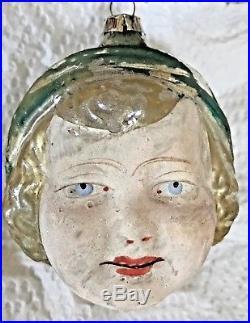 Antique Vintage Flesh Faced Flapper Girl Head German Figural Christmas Ornament