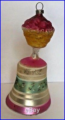 Antique Vintage Fruit Basket Top Bell W Clapper Glass German Christmas Ornament
