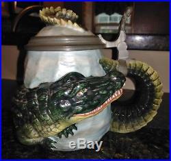 Antique Vintage German Alligator Wrap Character Stein Crocodile Unmarked Bohne