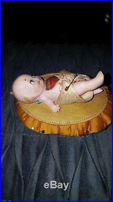 Antique/ Vintage German Bisque Kewpie Doll Rose O'Neill Pincushion Reclining