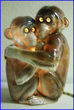 Antique Vintage German Dresden Meissen Porcelain Ceramic Monkey Parfum Lamp