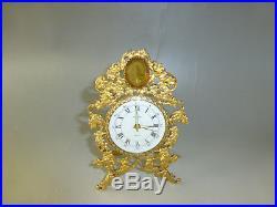 Antique Vintage German Gold Gilt Brass Mantel Alarm Clock With