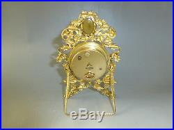 Antique Vintage German Gold Gilt Brass Mantel Alarm Clock With Yellow Topaz Gem