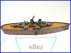 Antique / Vintage German Lehmann 672 Clockwork St Vincent Battleship / Working