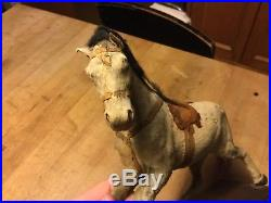 Antique Vintage German Pull Toy Primitive Horse +Wheels Hide Covered AAFA Nice