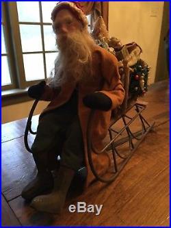 Antique Vintage German Style Norma David DeCamp Santa on Sled Sleigh
