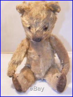 Antique Vintage Jointed Teddy Bear German 12 Inches Tall