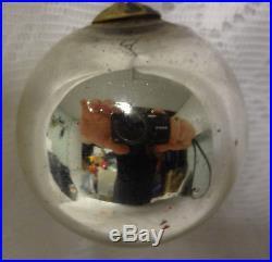 Antique Vintage Kugel German Mercury Glass Christmas Tree Silver Bowl Ornament