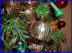 Antique Vintage Large 35 Tall German Goose Feather Christmas Tree Decorated