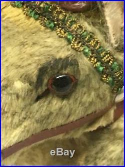 Antique Vintage Lg German Reindeer Christmas Putz Glass Eyes Metal Antlers Toy