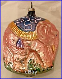 Antique Vintage Pink Walking Elephant W Blanket German Glass Christmas Ornament