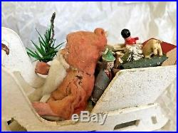 Antique Vintage Santa In Mica Sled W Toys & Donkey German Christmas Decoration