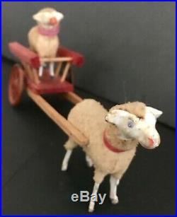 Antique Vintage Stick Leg Wooly Sheep Pulling Tin Wheel Cart Sheep Rider German