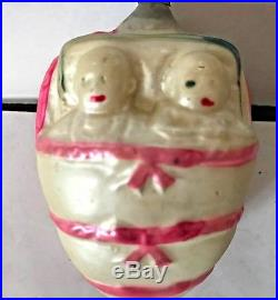 Antique Vintage Twin Babies In Bunting Glass German Figural Christmas Ornament