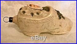 Antique Vintage Unsilvered Shoe W Baby Scrap Glass German Christmas Ornament