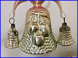 Antique Vtg Embossed Bumpy Fantasy Bell W Bells Glass German Christmas Ornament