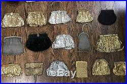 Antique Vtg Lot 33 German Silver & Gold Mesh Wristlet Coin Purse Whiting Davis