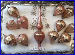 Antique Vtg RARE German Pink Glass Wire & Dresden foil Ornaments + Tree Topper