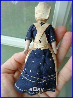 Antique dollhouse doll c1900 rare nanny with baby original dress & bonnet