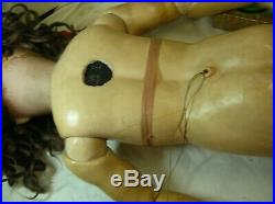 Antique large Simon & Halbig Bisque Doll 36. UNUSUAL SIZE has pull string