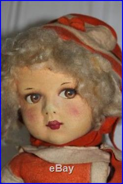 Antique vintage Dean's Rag Book Felt and cloth doll, 18, all original