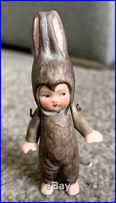 BISQUE HERTWIG CARL HORN MINIATURE Jtd Arms 3 Tiny Doll Dressed As Rabbit