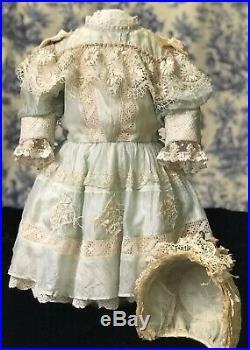 Beautiful Antique Silk Dress & Hat for 30-31 French or German Doll BRU Jemeau