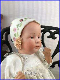 Beautiful! German Gebruder Huebach Baby Stuart 8 Moulded Bisque Bonnet Roses