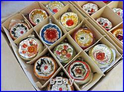 Box 12 VTG OLD ANTIQUE Xmas Ornaments German Glass Reflector Indents EXCELLENT