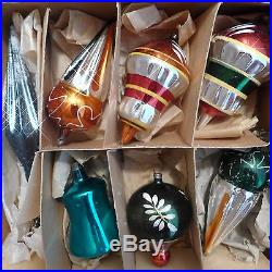 Box with 11 ANTIQUE Vtg GERMAN Xmas Glass ORNAMENT Indent Parasol Santa Ice Cream