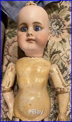 C1890 15 949 German Bisque Doll Simon Halbig Belton withHuman Hair Wig