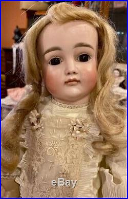 C1890 19 Antique German Bisque Doll Closed Mouth Kestner on Early Body